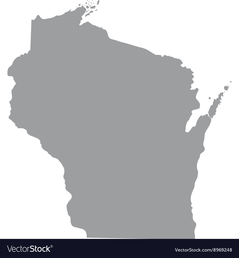 Map of the US state of Wisconsin Royalty Free Vector Image