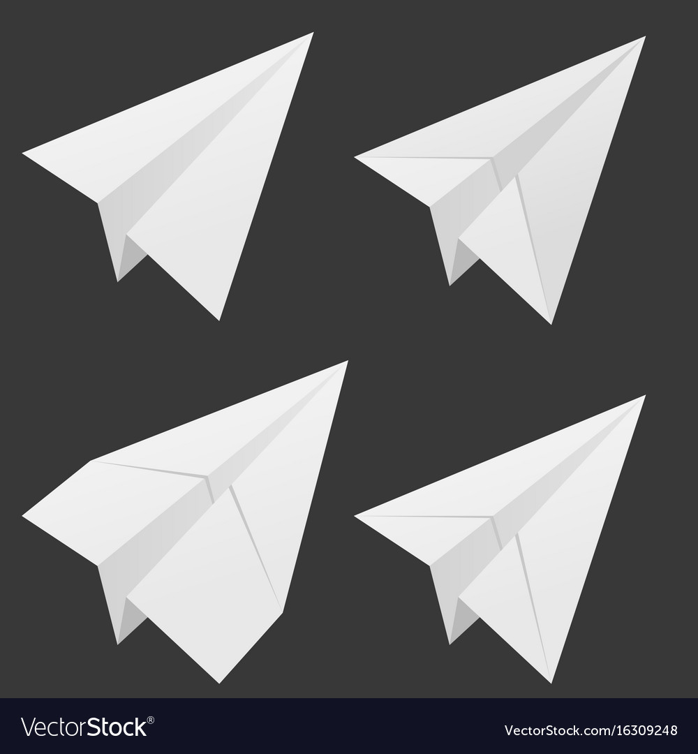 Paper airplane set in white