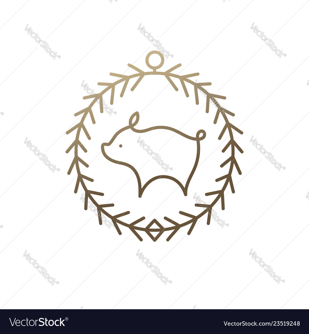 Pig icon frame vector