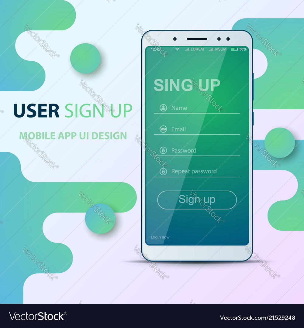 User interface design smartphone icon login