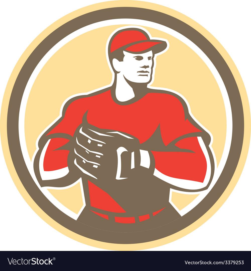 Baseball Catcher Gloves Circle Retro