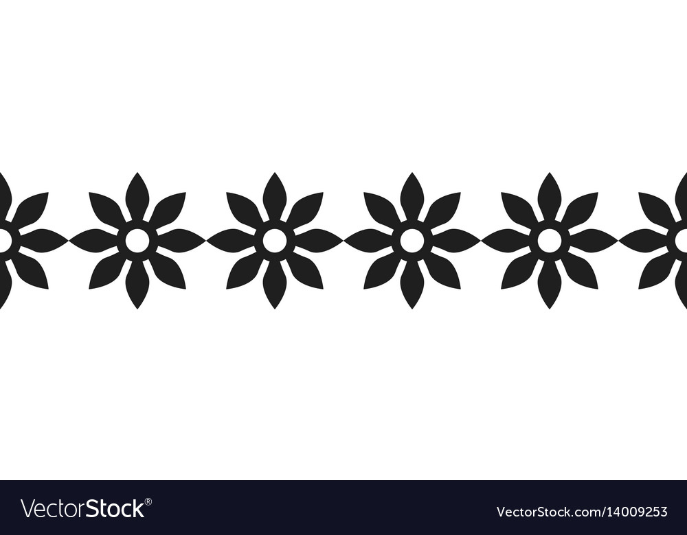 Border of black silhouetted flowers for decoration