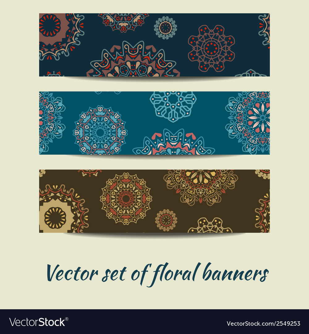 Colorful set floral banners