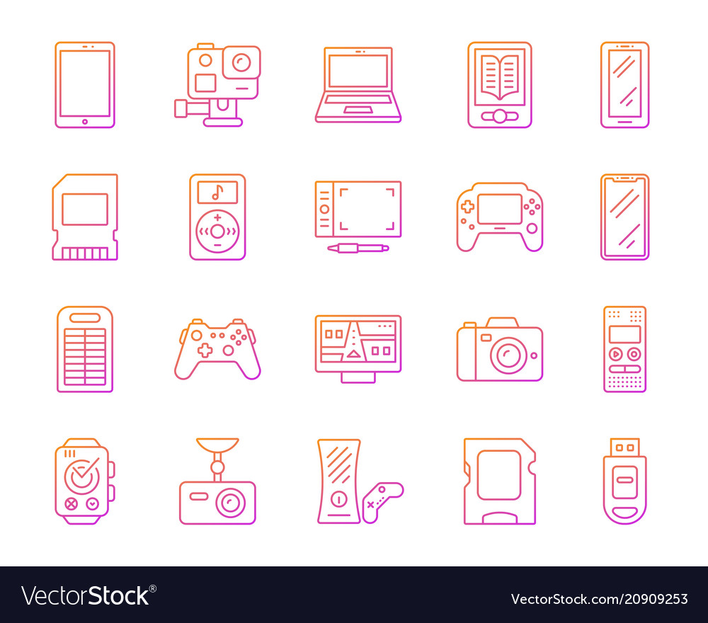 Device simple color line icons set