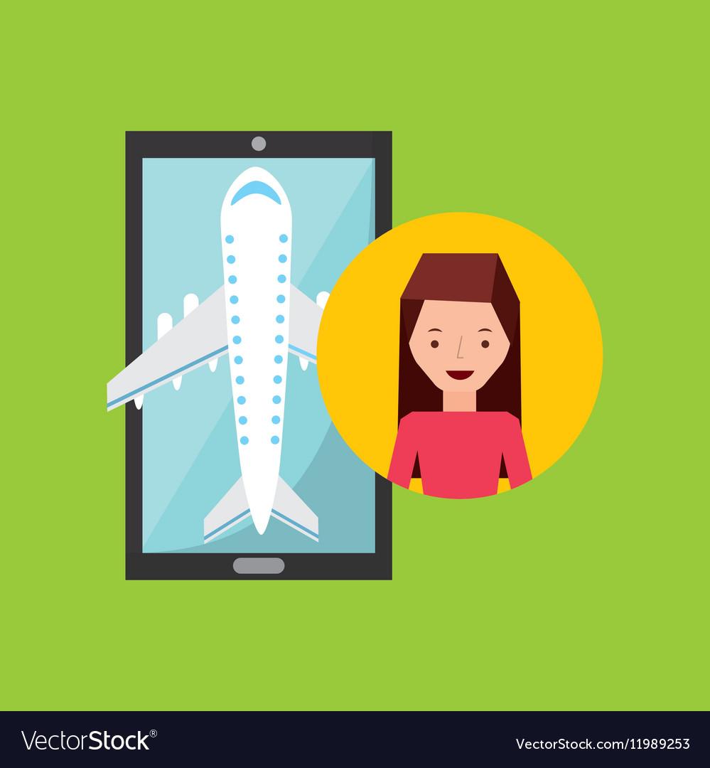 Girl brunette hand holds mobile application travel