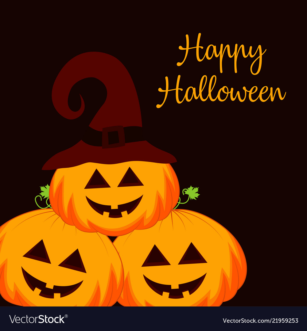 Halloween pumpkins on dark