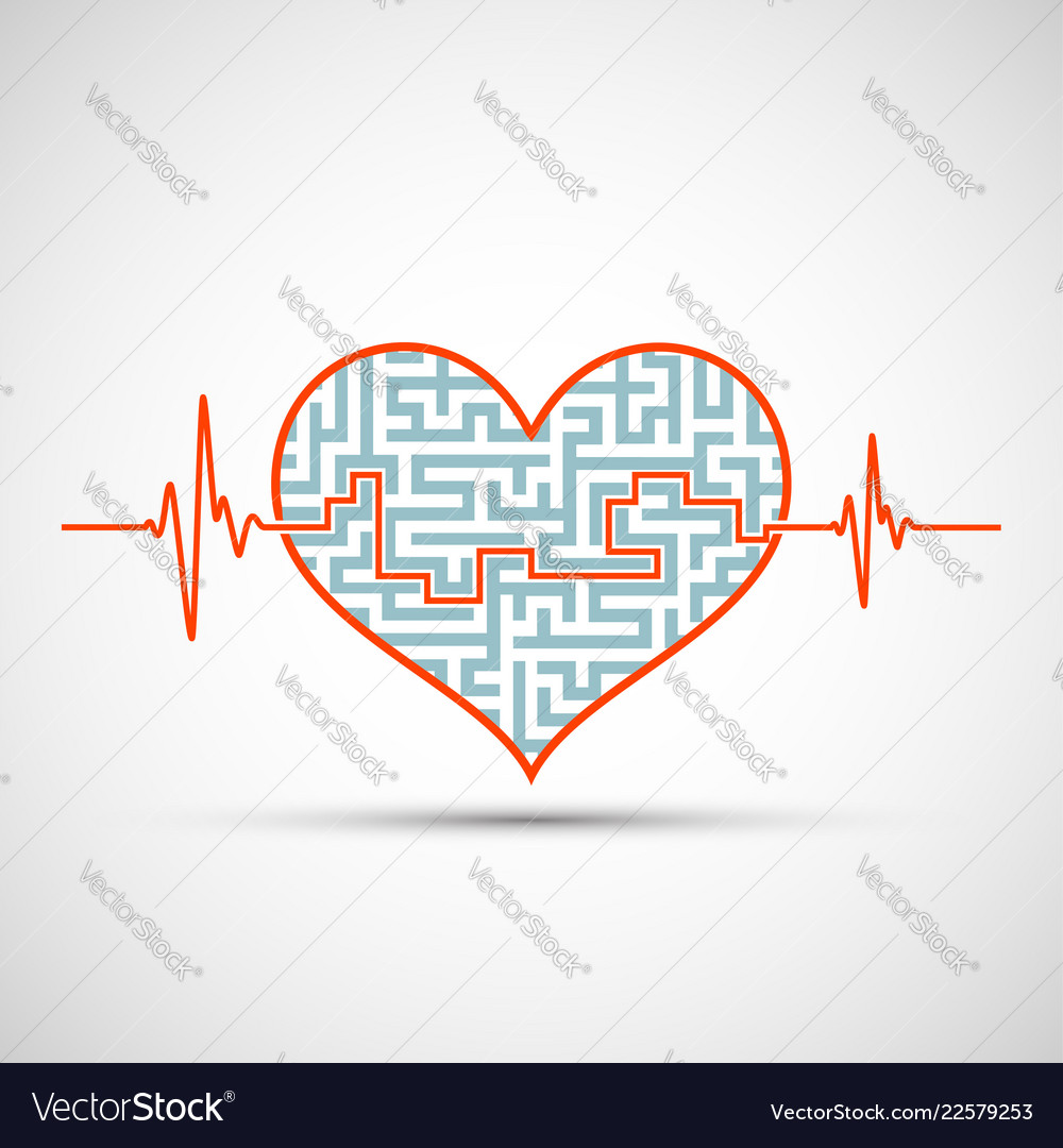 Heart with a maze and line of electrocardiogram