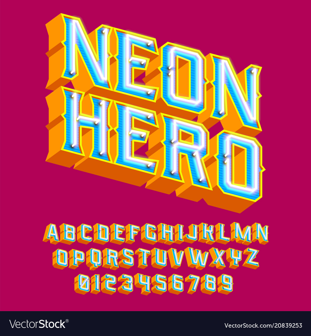 Neon hero - 3d vintage letters with lights vector image