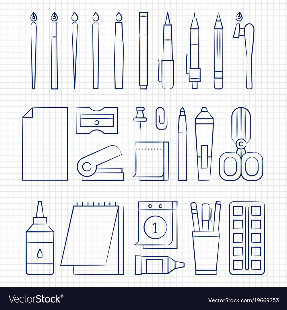 Pen drawing office stationery linear icons