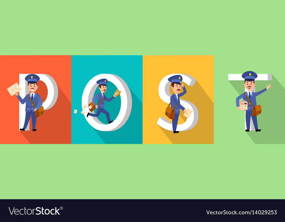 Post colourful poster with big letters and mailman vector image