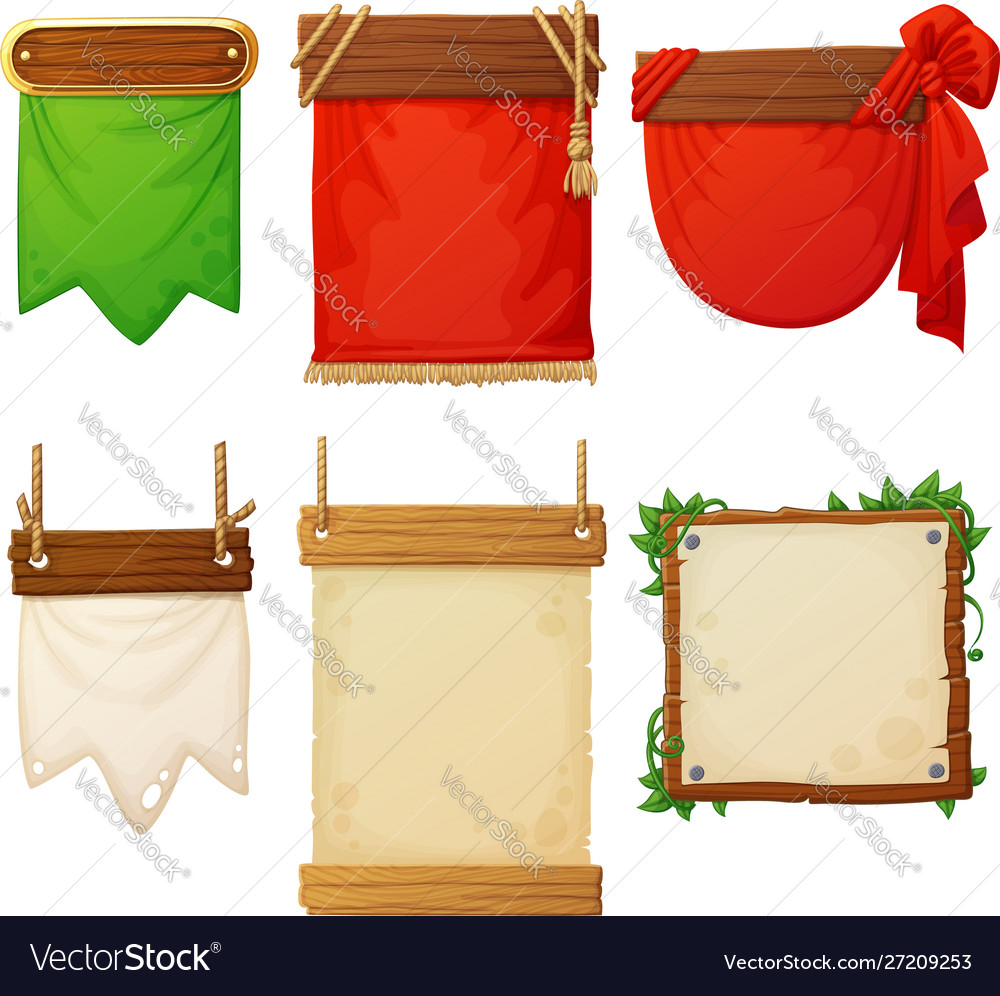 Set wooden banners with decorative cloth flags