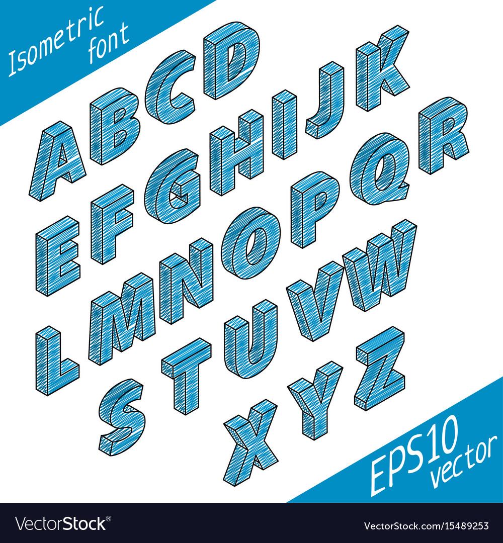 Stylish isometric font poster