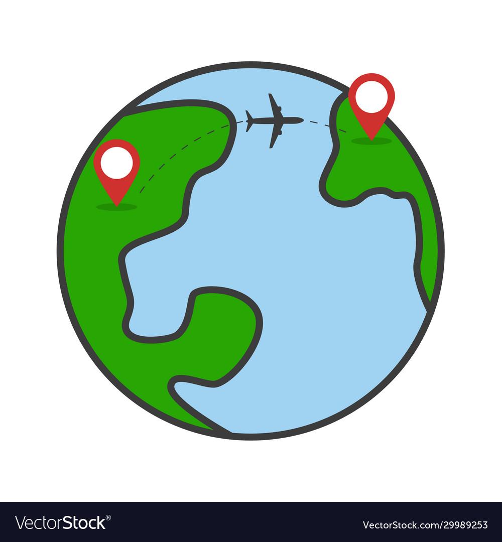 Travel around planet concept