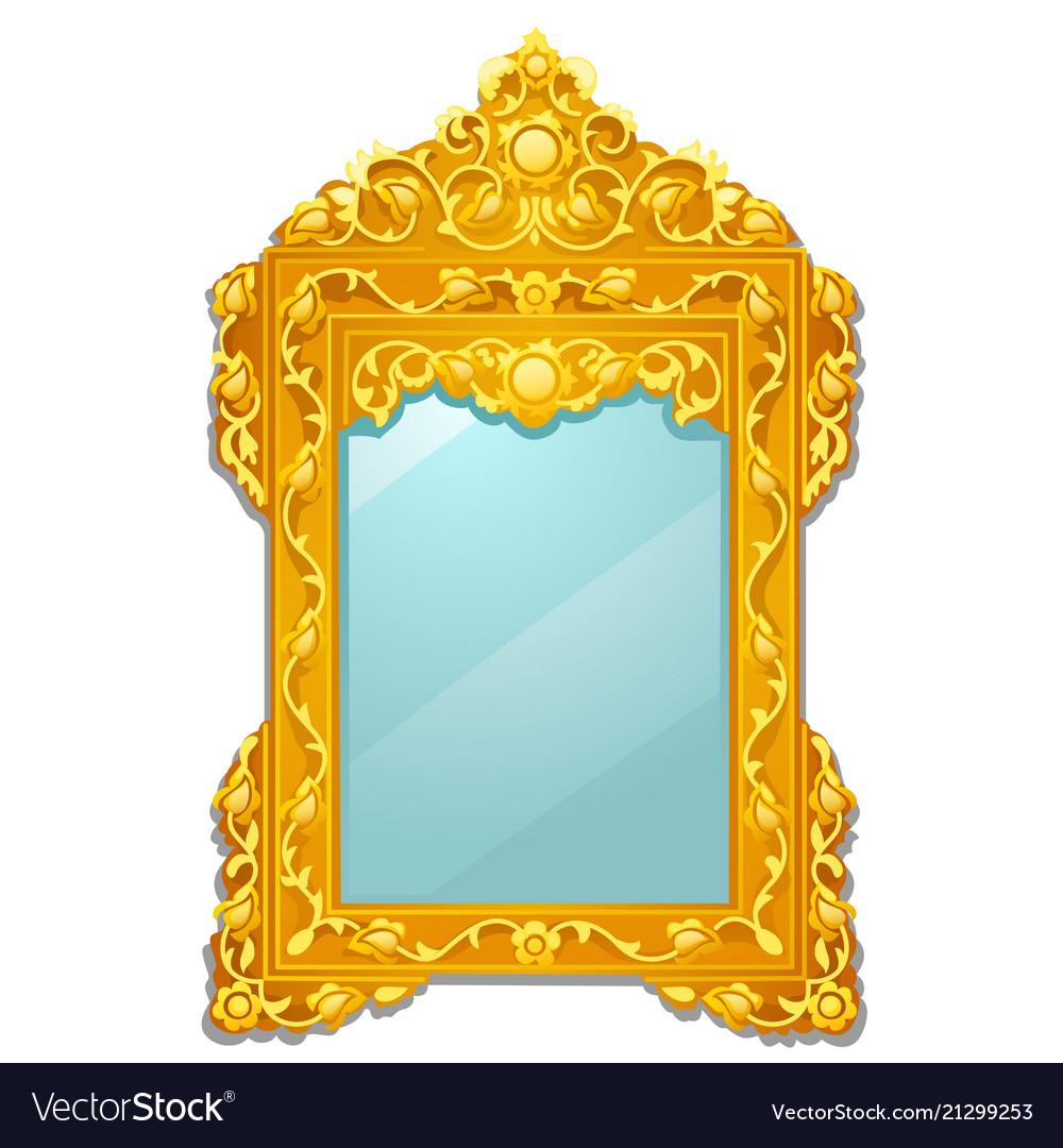 Vintage mirror with golden ornate florid frame