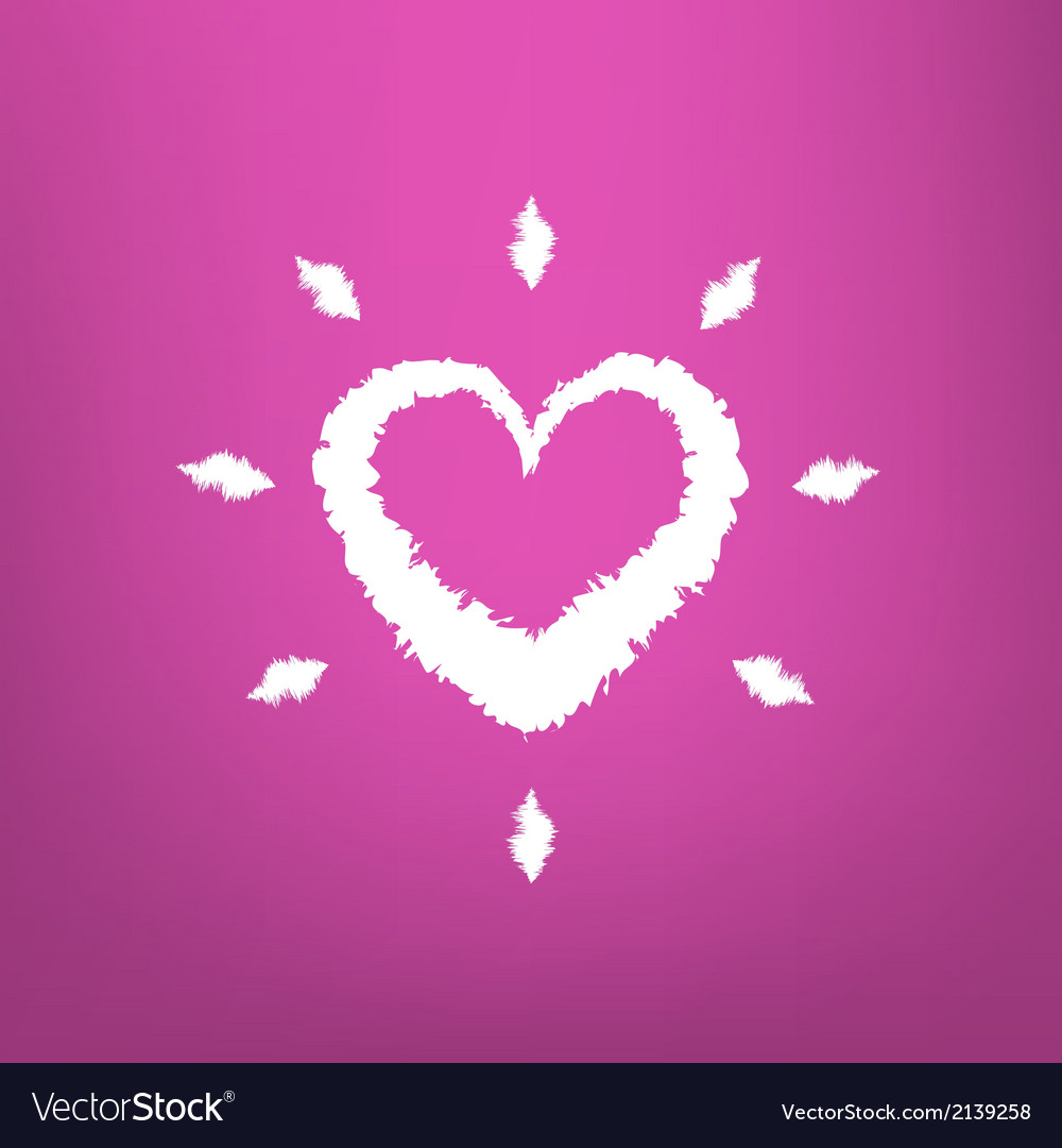 Abstract Heart draw isolated on pink background