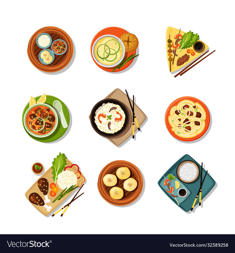 Asian food with dishes top view set tasty east
