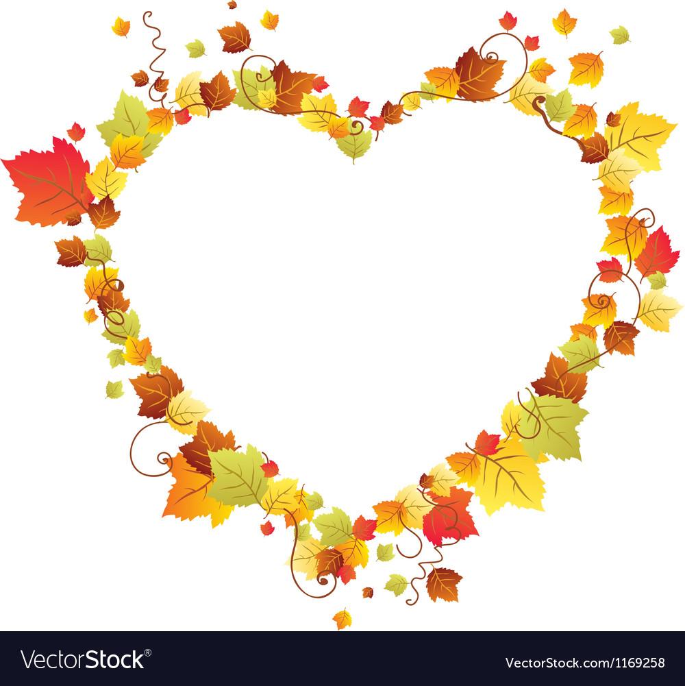Autumn leaves heart