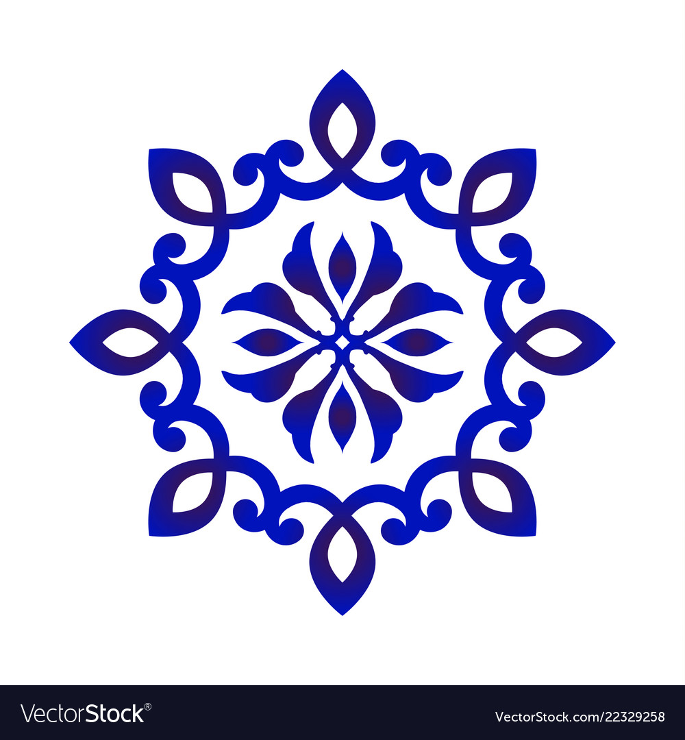 Blue and white flower mandala