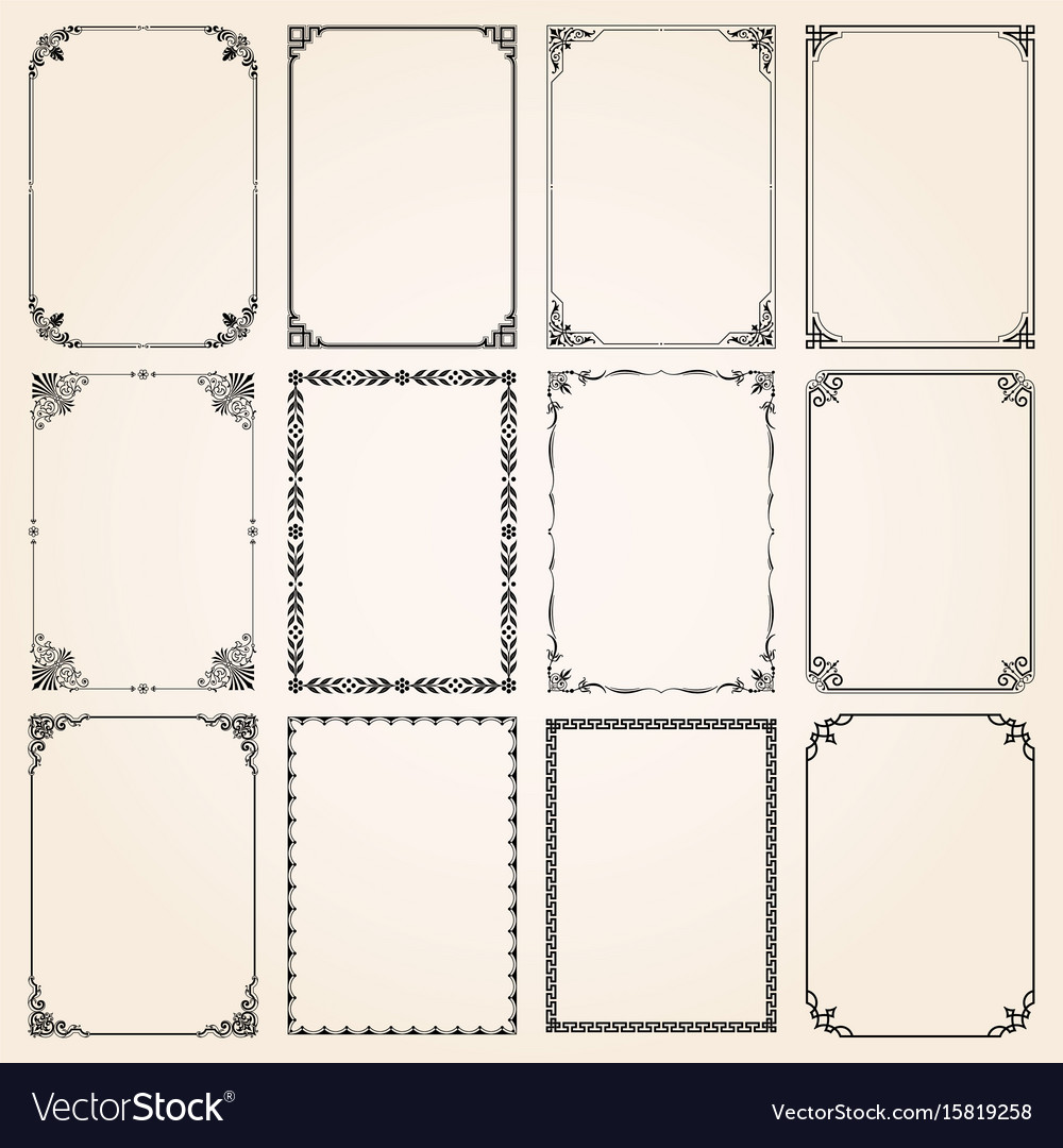 Decorative frames and borders rectangle set 5