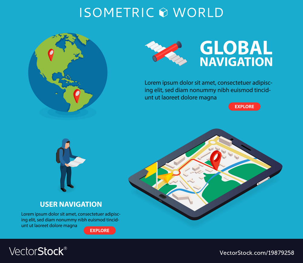 Flat 3d isometric mobile gps navigation maps