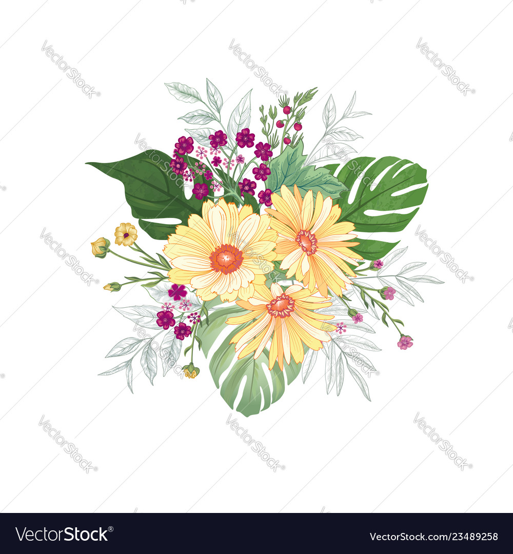 Flower bouquet over white background floral