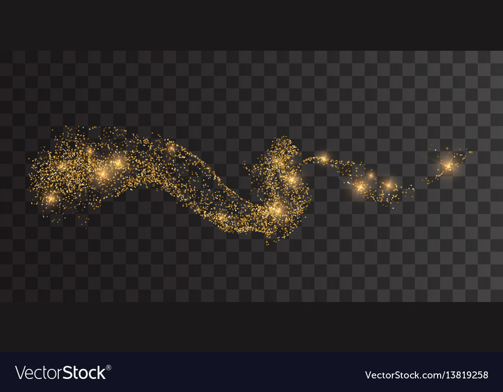 Glittering golden stream of sparkles
