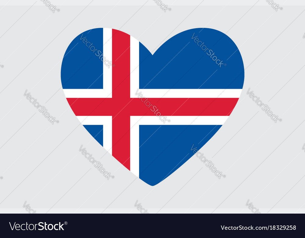Heart In Colors And Symbols Of The Iceland Flag Vector Image