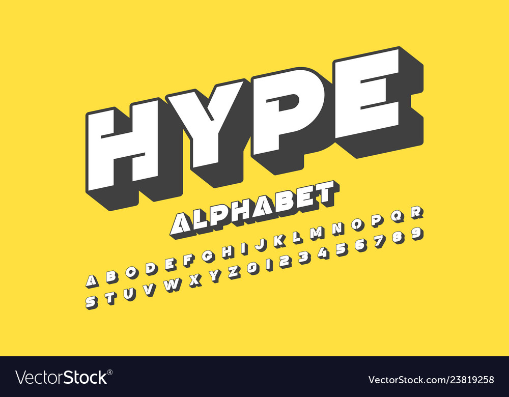 Modern font design alphabet letters and numbers