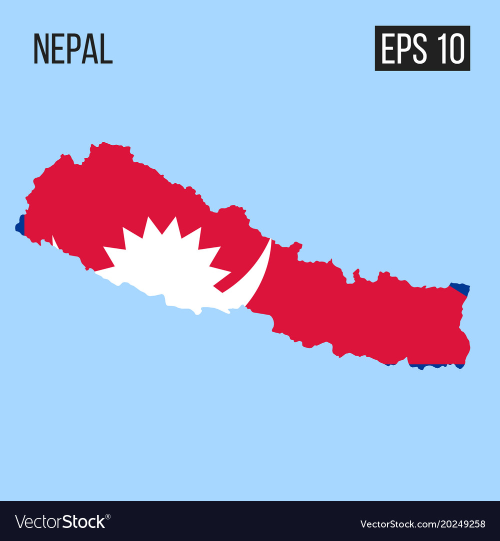 Nepal map border with flag eps10