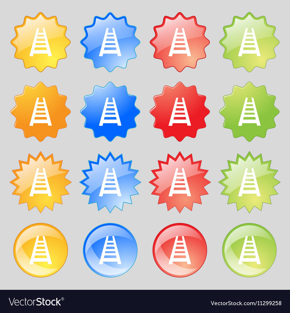 Railway track icon sign Big set of 16 colorful