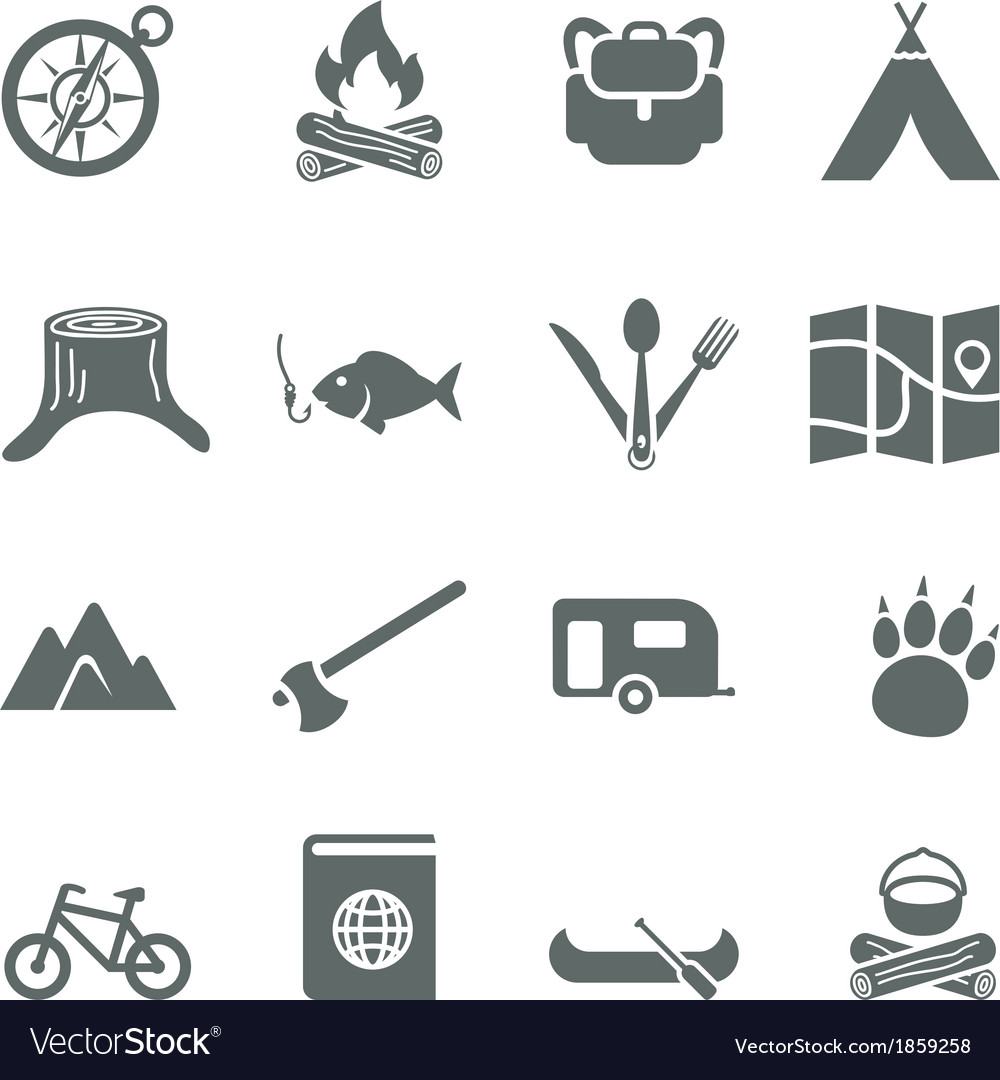 Set of icons for tourism travel and camping
