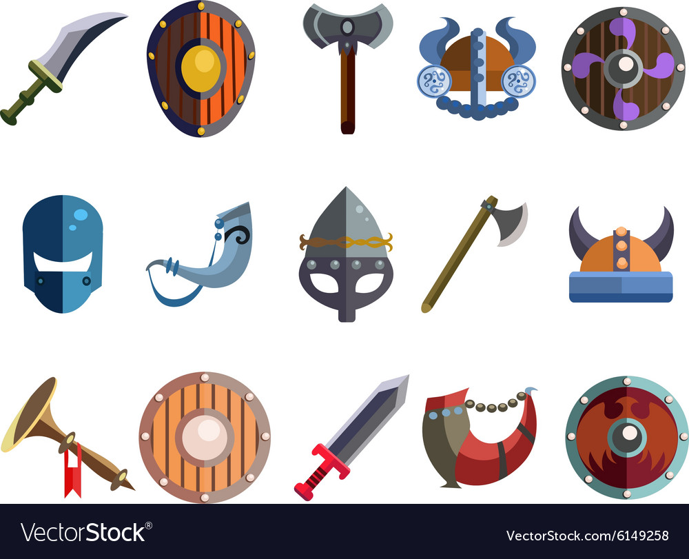 Viking Cartoon Weapon and Equipment Game icons