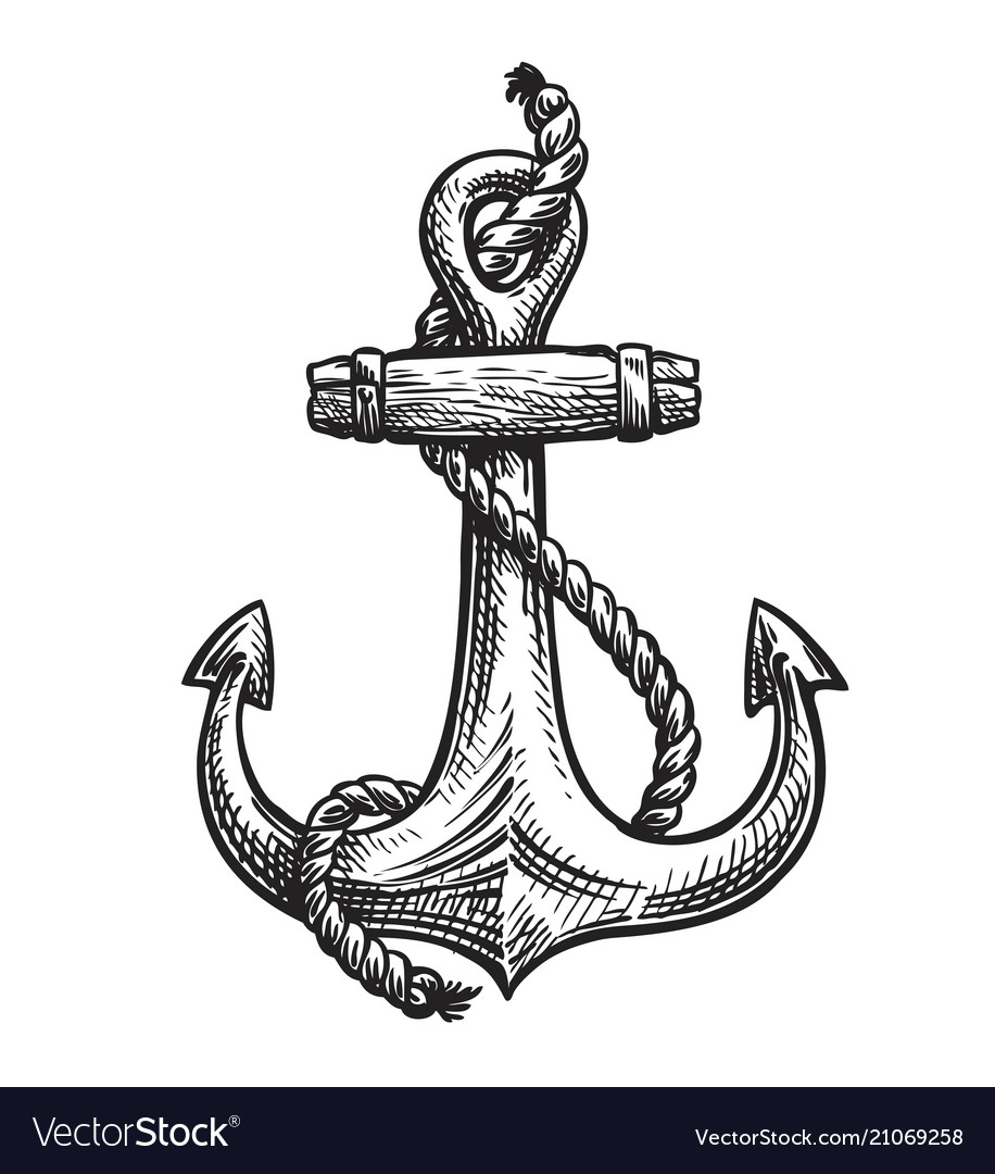 Vintage anchor with rope hand-drawn sketch