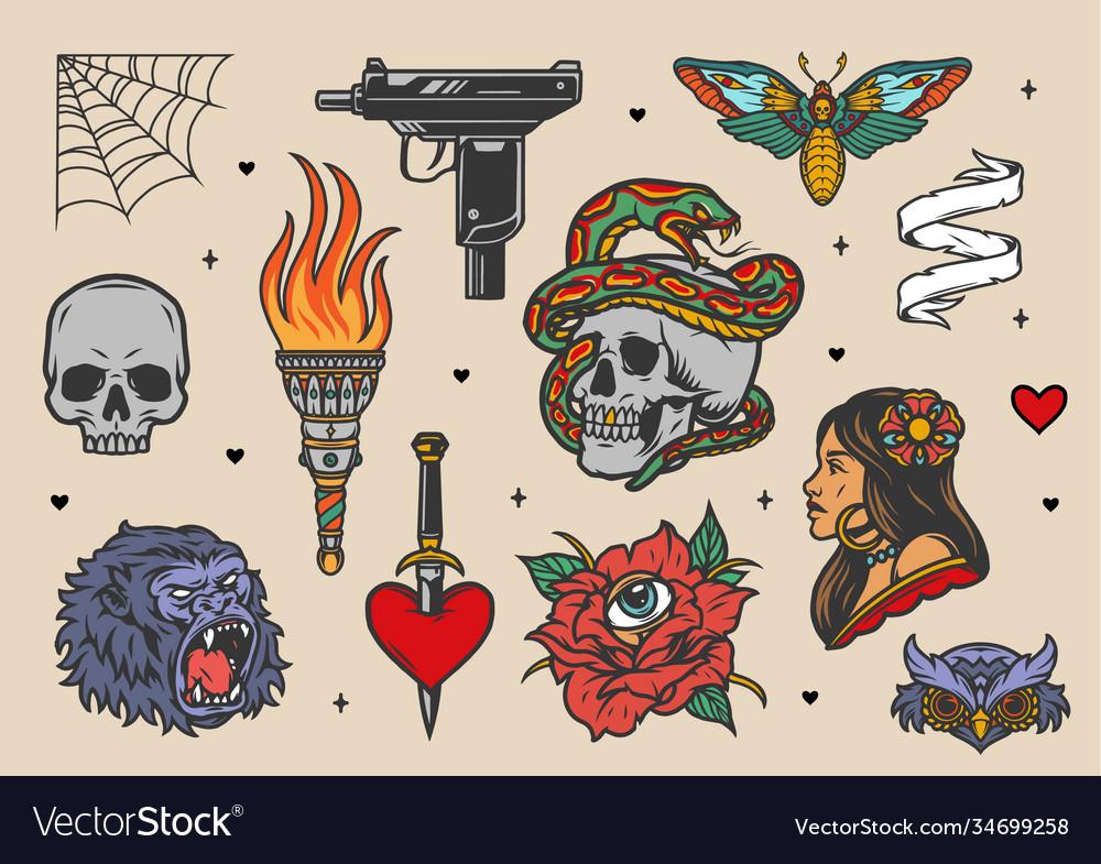 Vintage tattoos set