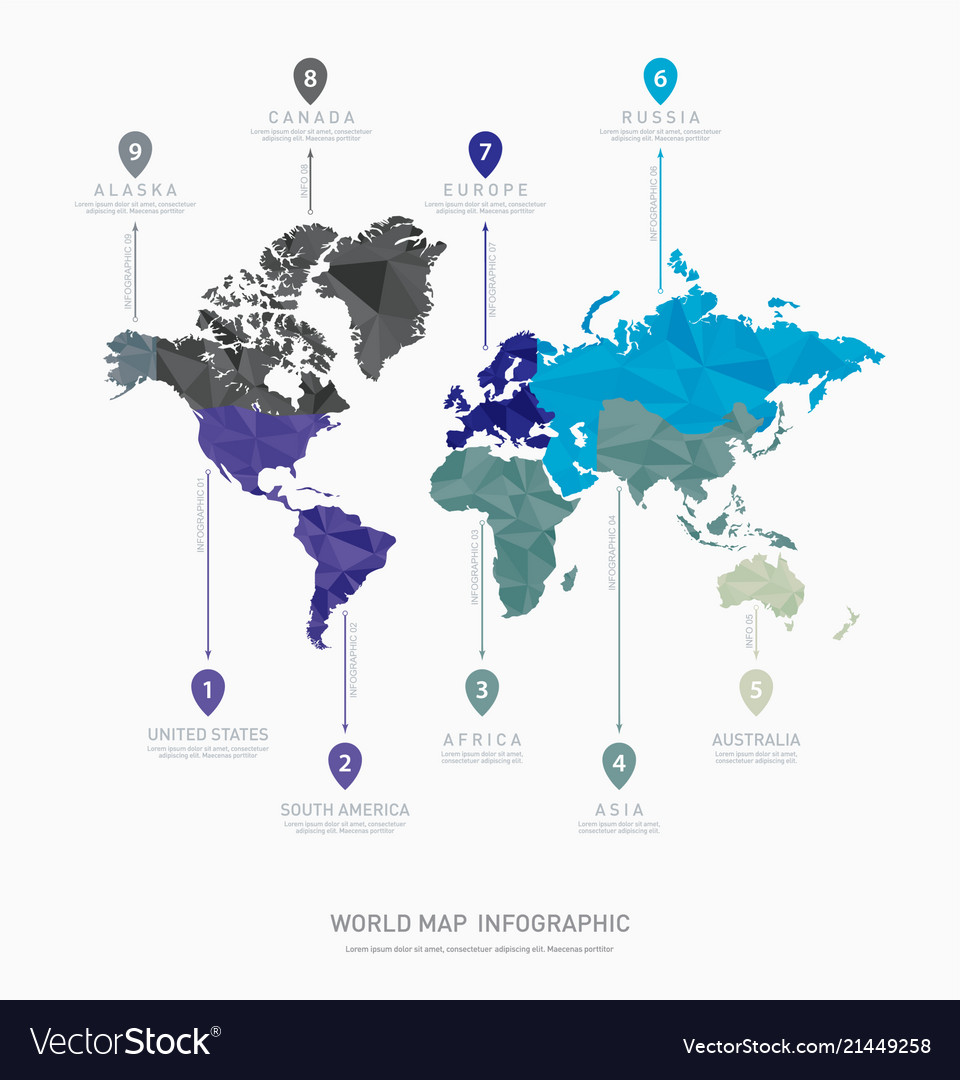 World Map Geometric Infographics Royalty Free Vector Image