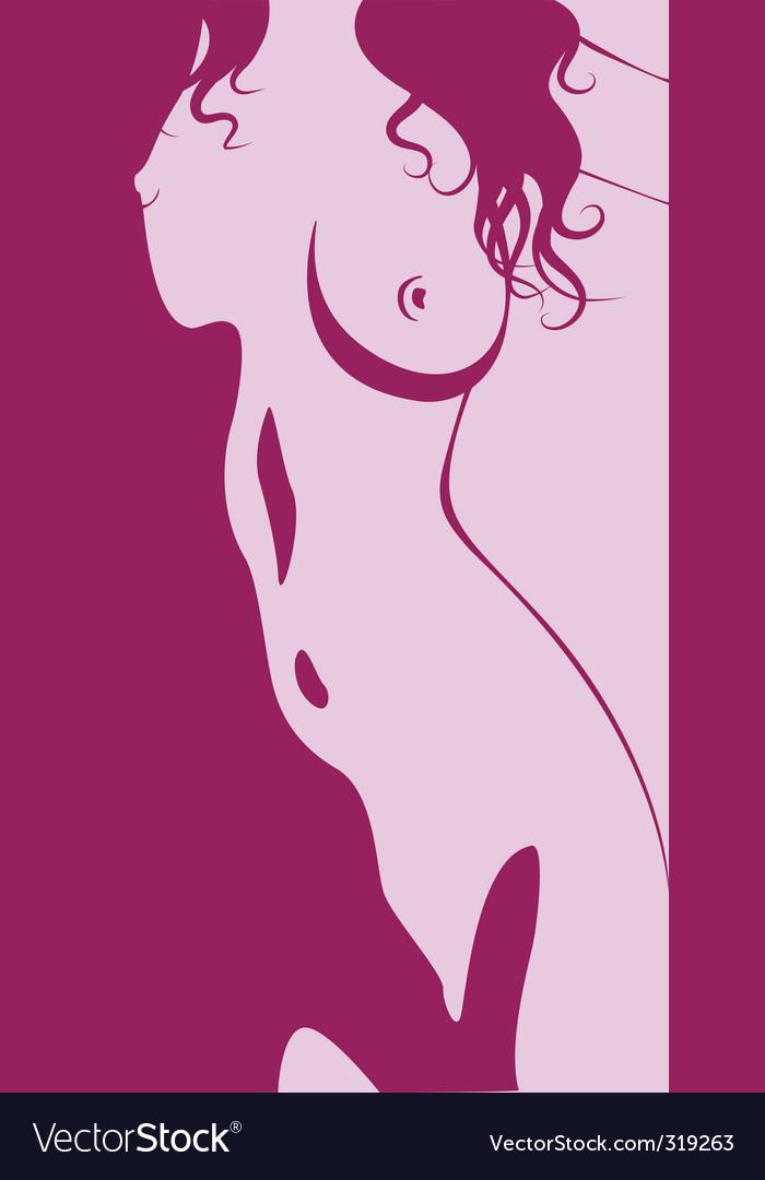 Beautiful artwork nude woman silhouette vector image