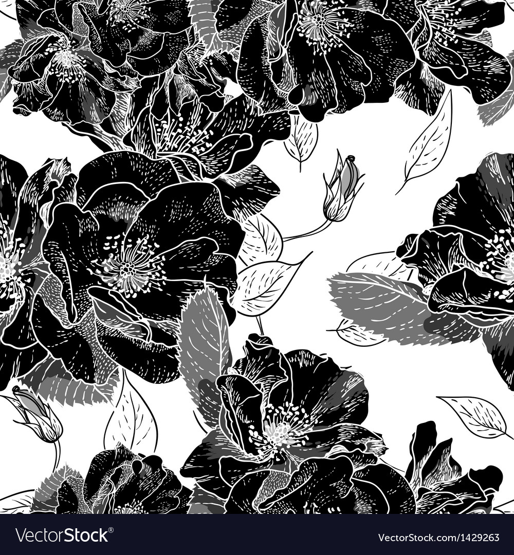 Beautiful Monochrome Seamless Floral Pattern vector image