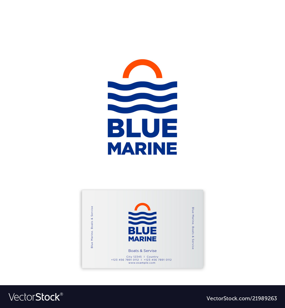 Blue marine logo boats service travel yacht club