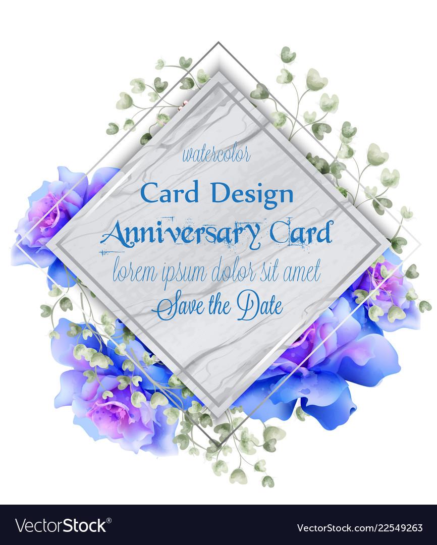 Blue roses watercolor card vintage