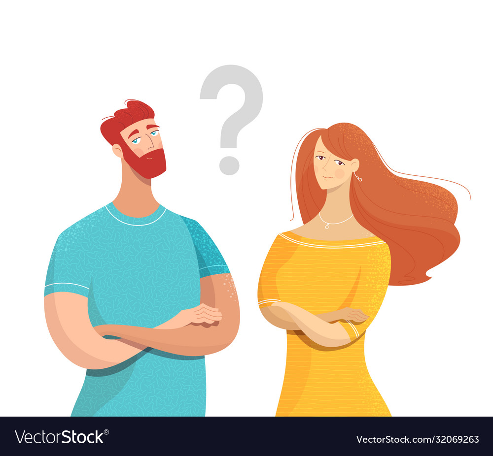 Couple With Question Mark Flat Royalty Free Vector Image