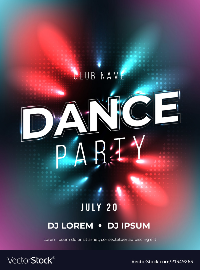 Dance Party Poster Background Template Royalty Free Vector