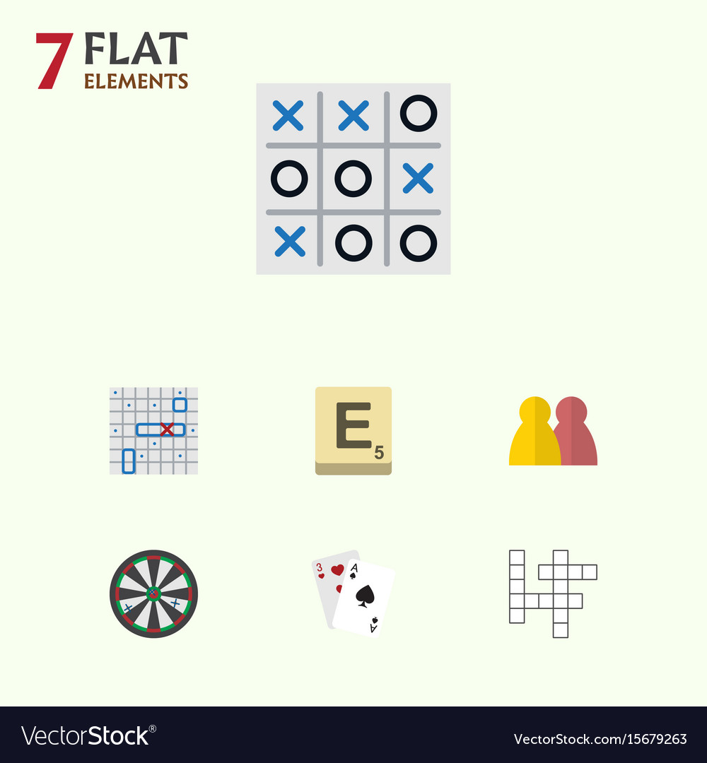 Flat icon play set of ace xo people and other vector image