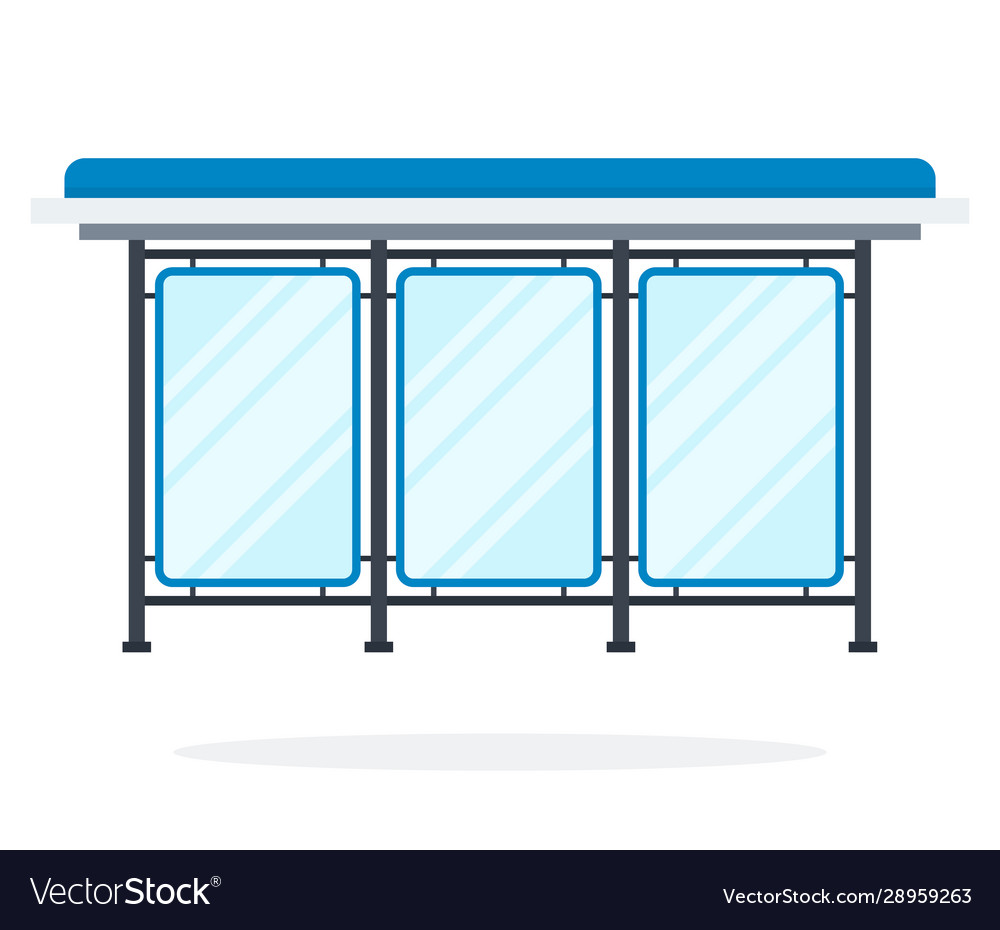 Glass bus stop flat material design isolated