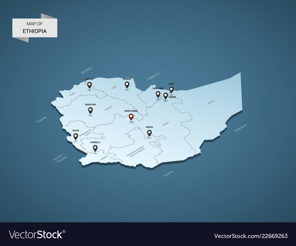 Isometric 3d ethiopia map concept Royalty Free Vector Image