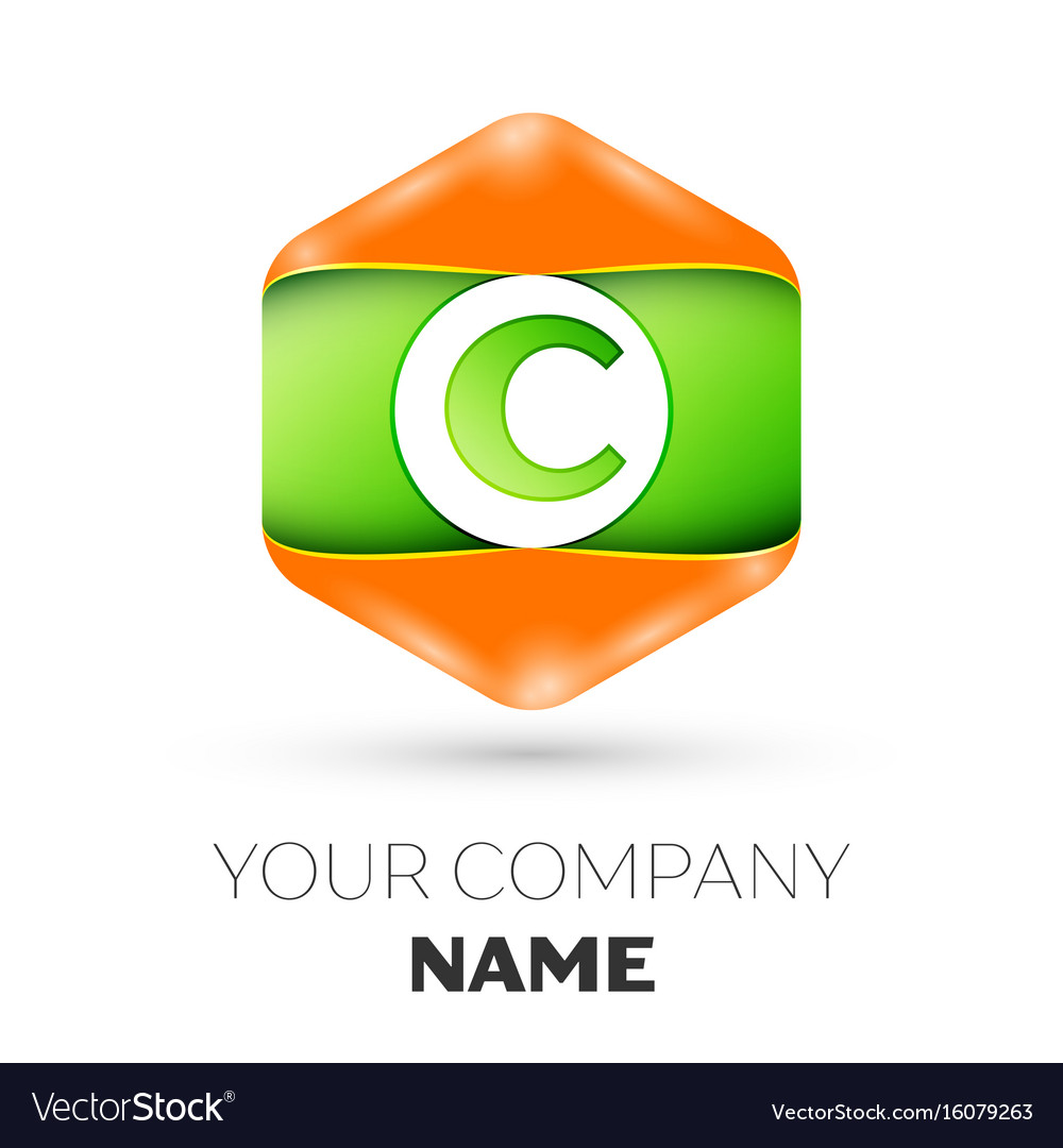 Letter c logo in the colorful hexagonal