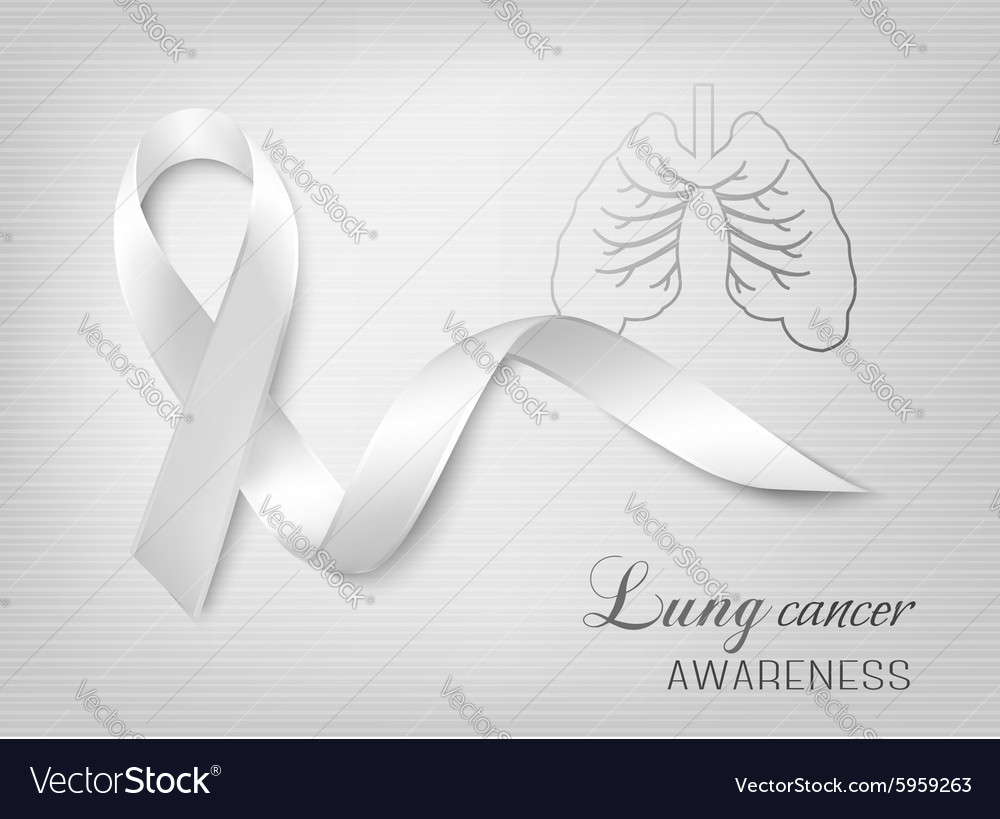 Lung cancer awareness ribbon vector image