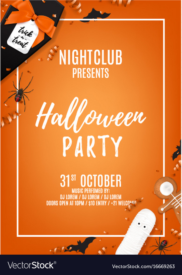 Orange Halloween Party Flyer Template Royalty Free Vector