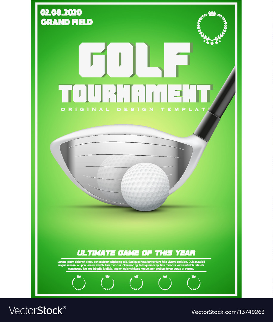 Poster template of golf tournament Royalty Free Vector Image