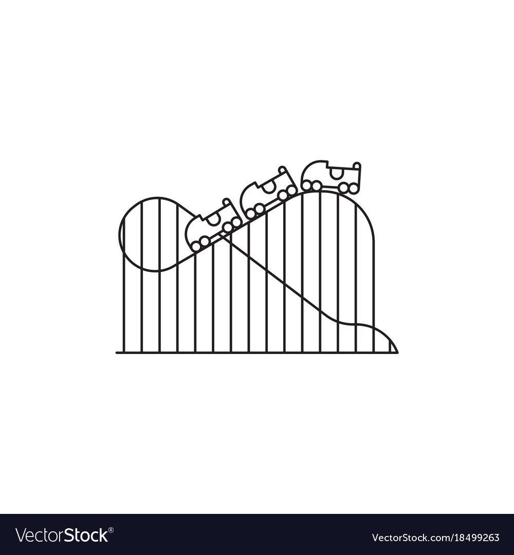 Roller coaster icon linear design isolated