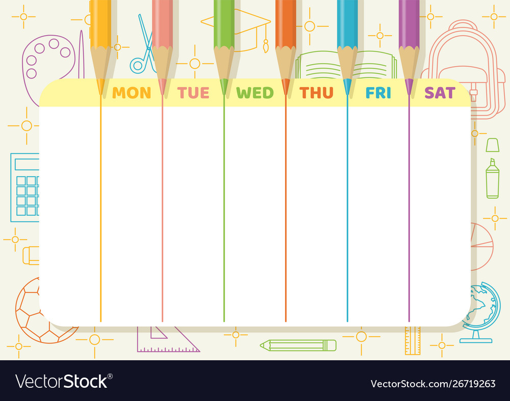 School timetable color pencil drawing lines